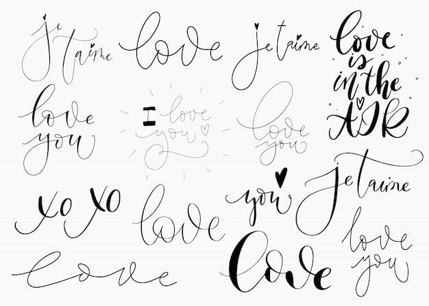 Conjunto de confissões de amor romântico em branco