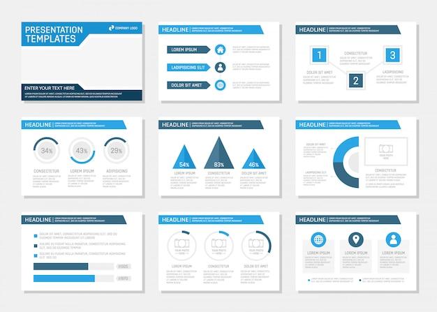 Conjunto de conjunto de apresentação corporativa azul