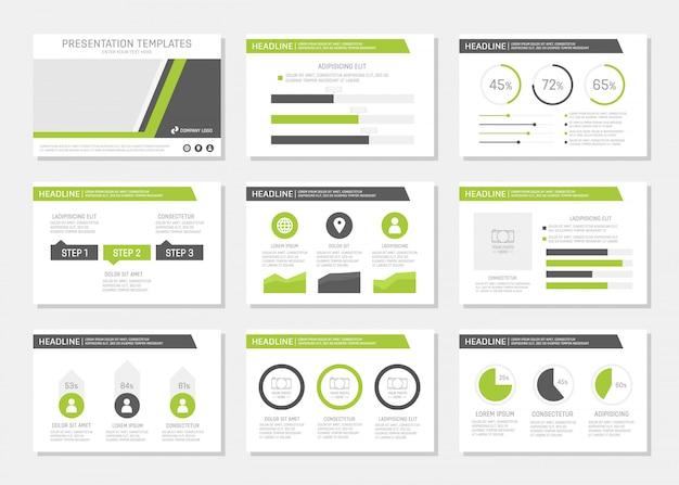 Conjunto de conjunto de apresentação corporativa verde e cinza