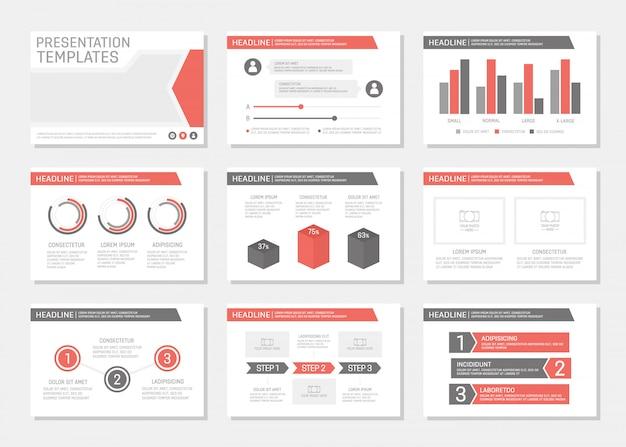 Conjunto de conjunto de apresentação corporativa vermelho e cinza