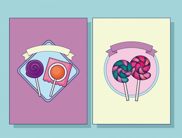 Conjunto de conjunto de cartão de pirulitos doces