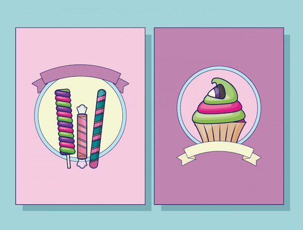 Conjunto de conjunto de cartas de cupcake e doces