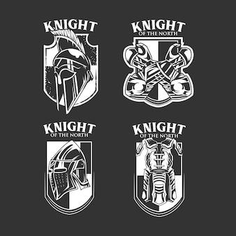 Conjunto de conjunto de emblema de cavaleiro b & w