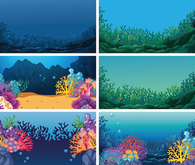 Conjunto de conjunto de fundo debaixo d'água