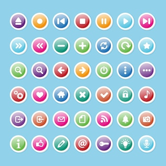 Conjunto de conjunto de ícones multimídia