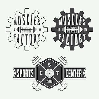 Conjunto de conjunto de logotipo de ginásio