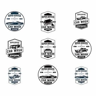 Conjunto de conjunto de logotipo de lavagem de carro