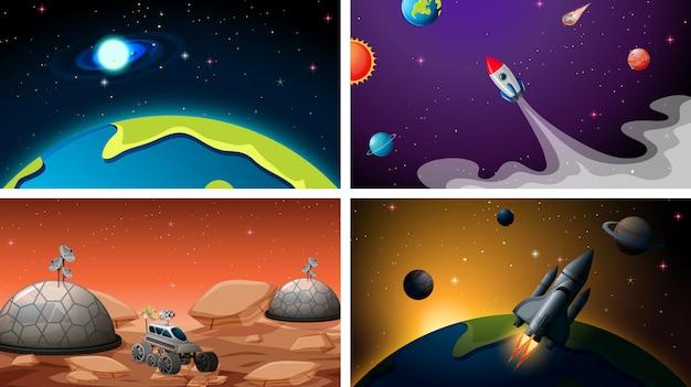 Conjunto de conjunto de plano de fundo do espaço