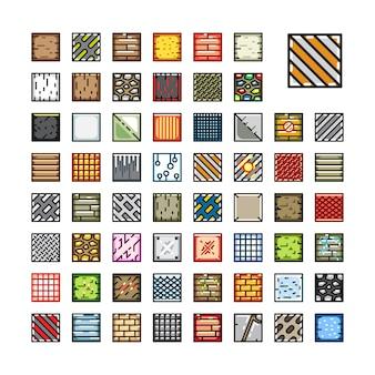 Conjunto de conjuntos de azulejos de cima para baixo para videogame