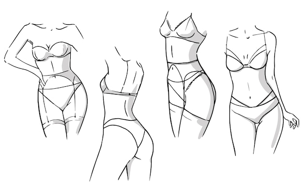 Conjunto de conjuntos de lingerie, mulheres vestindo roupas íntimas, desenho vetorial