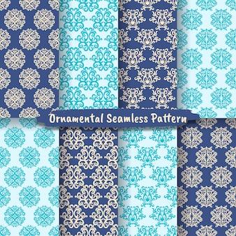 Conjunto de conjuntos de padrões sem emenda ornamentais geométricos, padrões sem emenda de damasco