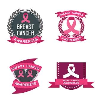 Conjunto de conscientização do câncer de mama para homens e mulheres logo