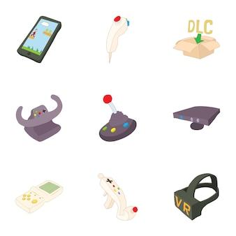 Conjunto de consola de jogos, estilo cartoon