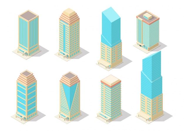 Conjunto de construção de arranha-céu isométrico