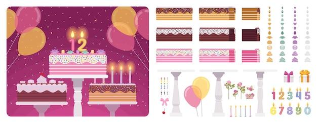 Conjunto de construção de bolo de aniversário