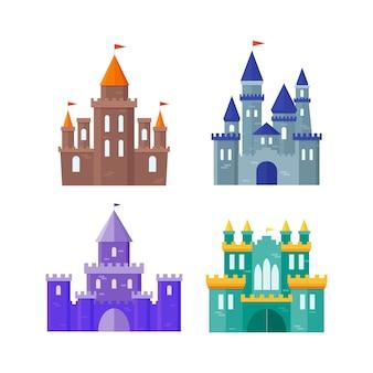 Conjunto de construção de castelo antigo de cor.