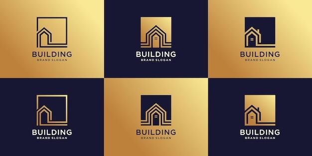 Conjunto de construção de coleção de logotipo com estilo de arte de linha criativa premium vector