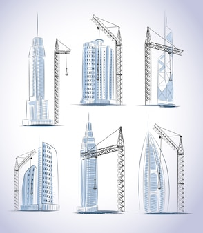 Conjunto de construção de edifícios de arranha-céus