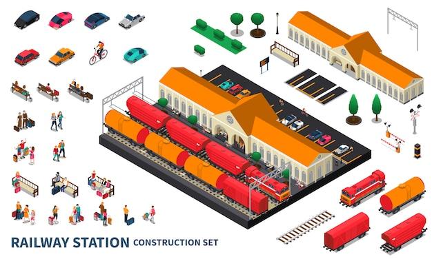 Conjunto de construção de estação ferroviária