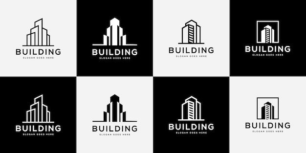Conjunto de construção de logotipo com estilo de arte de linha.