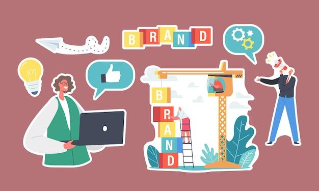 Conjunto de construção de marca de adesivos. personagens de negócios trabalham no guindaste criar identidade corporativa, mulher com laptop, empresário com megafone. desenvolvimento da personalidade da empresa. ilustração em vetor de desenho animado