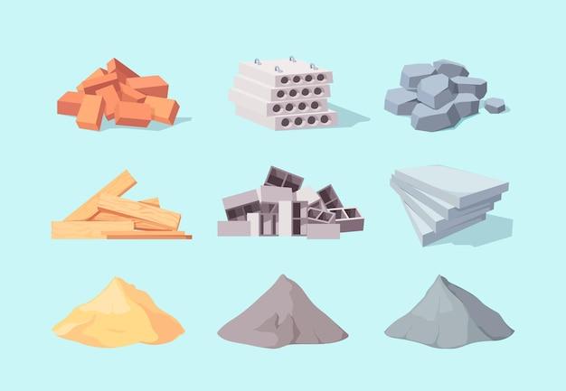 Conjunto de construção de materiais Vetor Premium