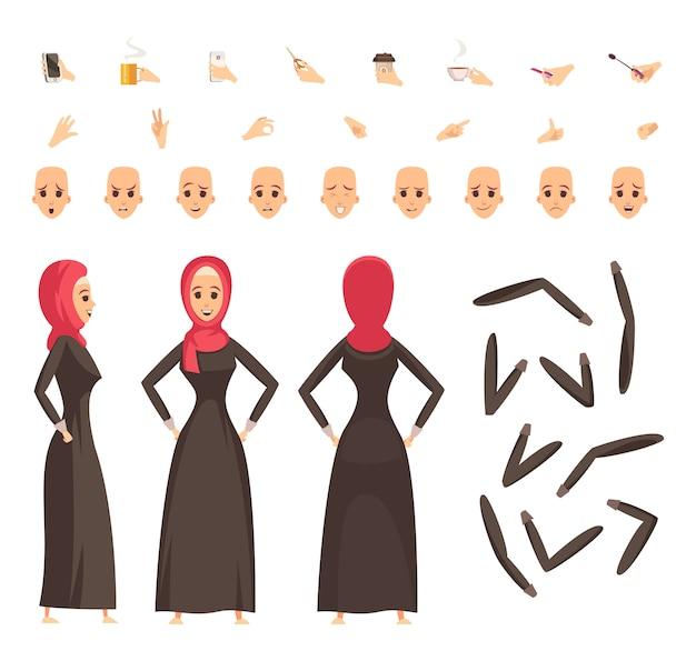 Conjunto de construção de mulher árabe