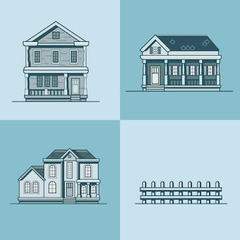 Conjunto de construção de objetos de arquitetura de casa urbana