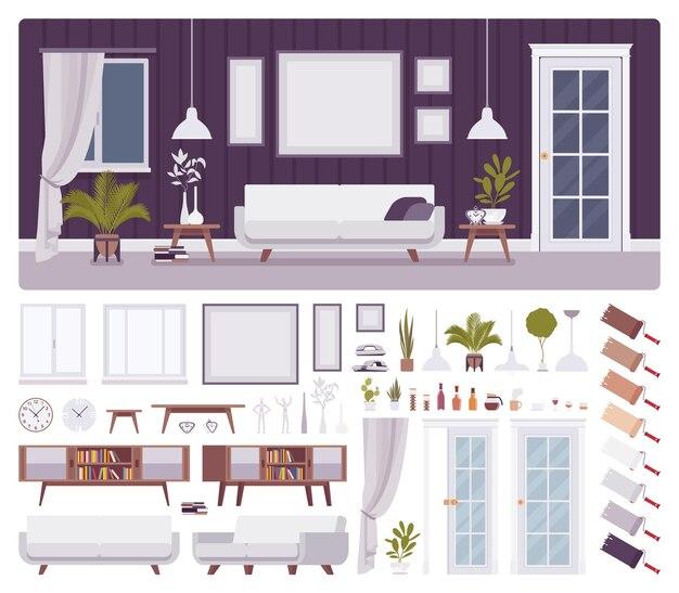 Conjunto de construção de sala de estar
