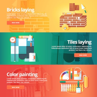 Conjunto de construção e construção. ilustrações sobre o tema de tijolo e azulejos, que colocam o trabalho, pintura decorativa de cores. conceito.