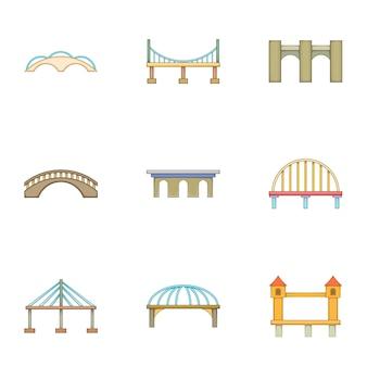 Conjunto de construção urbana, estilo cartoon
