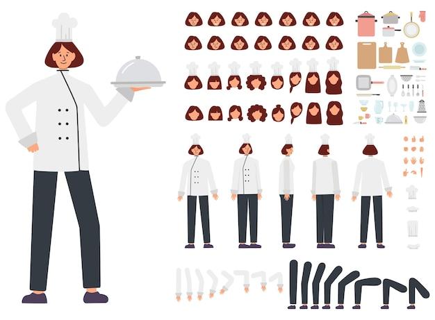 Conjunto de construtor chef feminino. jovem especialista em culinária caucasiana