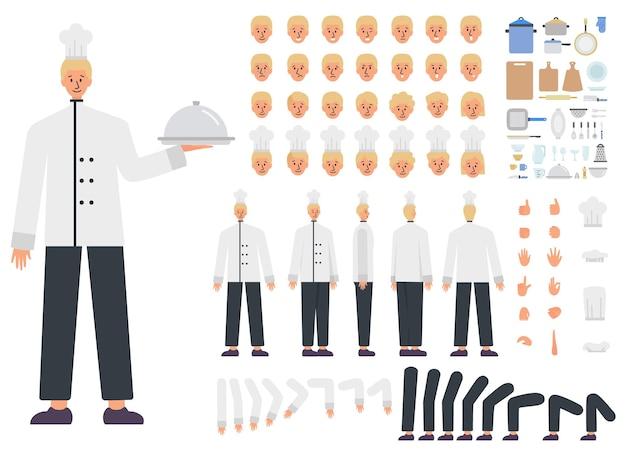 Conjunto de construtor chef masculino. jovem especialista em culinária caucasiana
