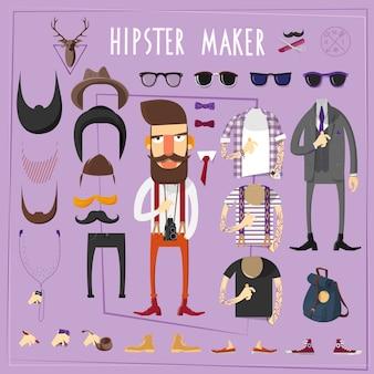 Conjunto de construtor criativo mestre hipster