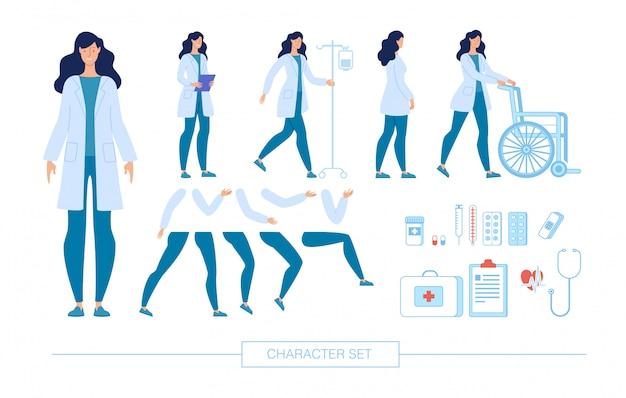 Conjunto de construtor de caracteres de médico feminino