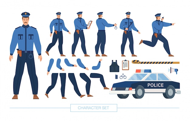 Conjunto de construtor de caracteres de policial