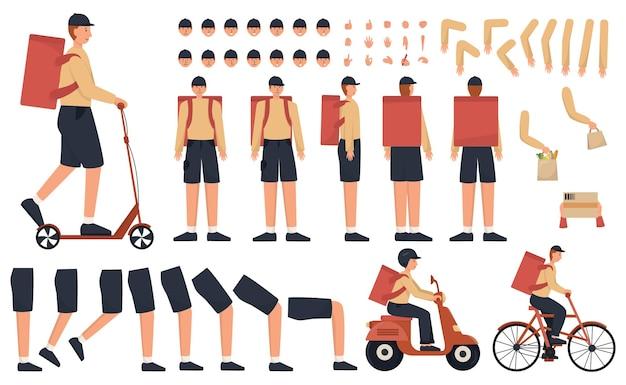 Conjunto de construtor de entregador. jovem mensageiro caucasiano de uniforme com um transporte, mochila ou outros pacotes. logística expressa do pacote para um cliente. ilustração em vetor plana.