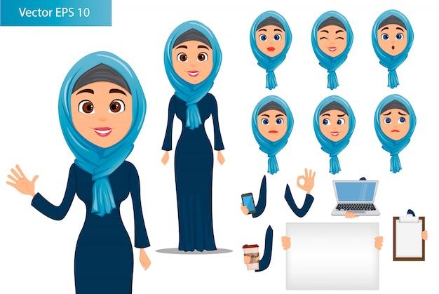Conjunto de construtor de mulher árabe
