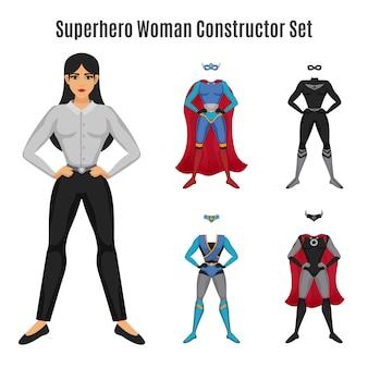 Conjunto de construtor de mulher super-herói