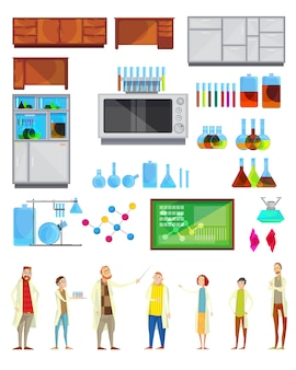 Conjunto de construtor interior de equipamento de mobiliário de material de laboratório químico isolado e doodle teache