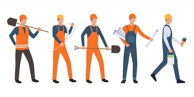 Conjunto de construtores, arquiteto, eletricista, pintor e handymen