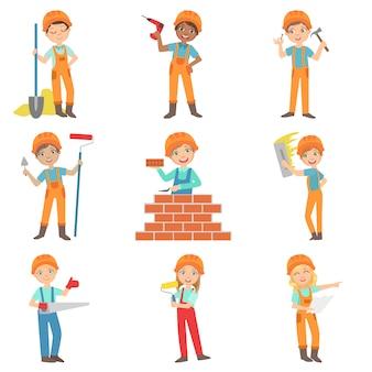 Conjunto de construtores de obras e crianças