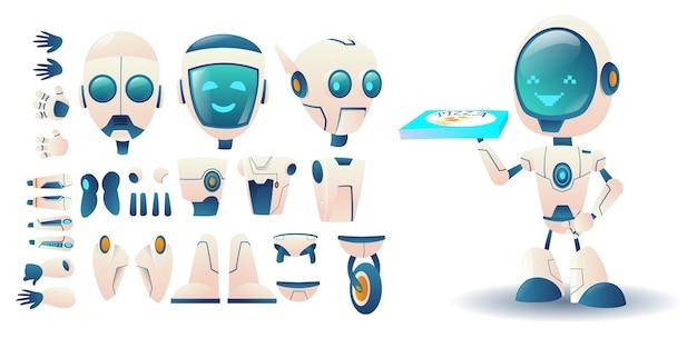 Conjunto de construtores de robôs de diferentes detaties