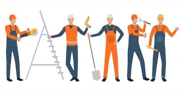Conjunto de construtores e trabalhadores manuais em pé, segurando ferramentas e trabalhando