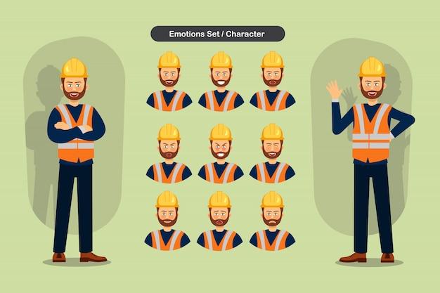 Conjunto de construtores homem diferentes expressões faciais.