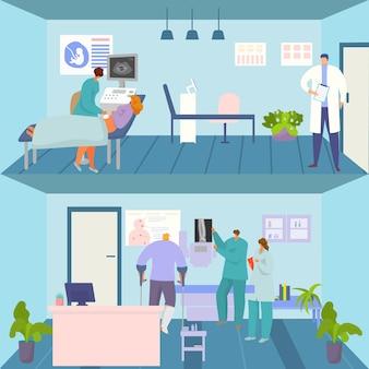 Conjunto de consulta de medicamento, ilustração vetorial, personagem de médico plano faz ultrassom para paciente grávida, teste médico ferido
