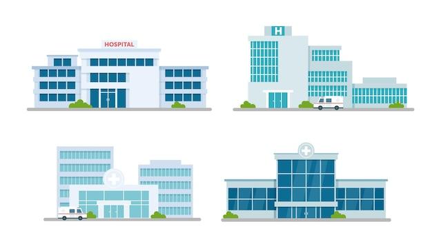 Conjunto de consultório médico de edifício de hospital