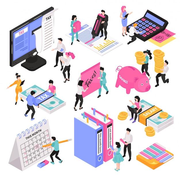 Conjunto de contabilidade isométrica de imagens conceituais com personagens de pessoas pequenas e vários objetos e itens do espaço de trabalho