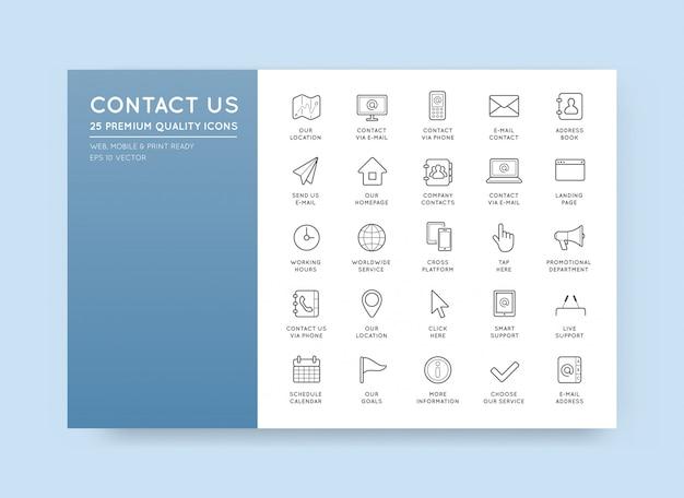 Conjunto de contacte-nos ícones de serviço assistência suporte