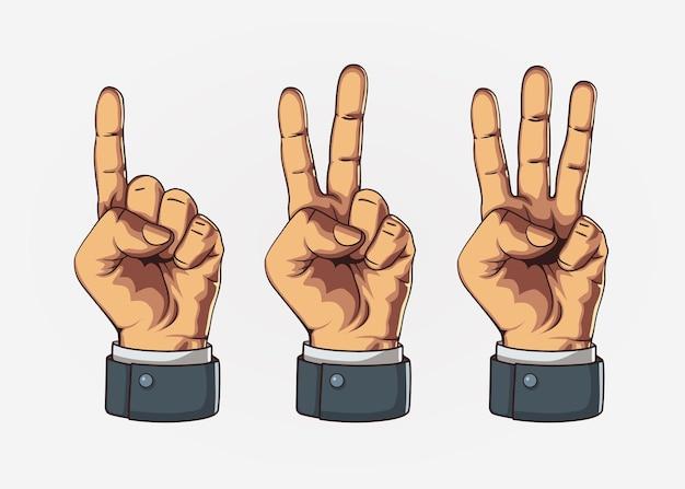 Conjunto de contagem de um sinal de duas três mãos